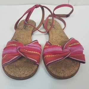 Lucky brand pink multicolor fabric sandal 7.5b